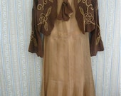 1920s silk dress and day  jacket size x-small edwardian antique 2 piece ensemble flapper display piece