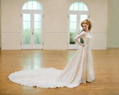 Stunning liquid satin 1940s wedding gown size small 40s candlelight cathetral train pearls