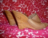 Fabulous candies wedges size 7 1970s blonde leather heels sexy shoes 70s disco