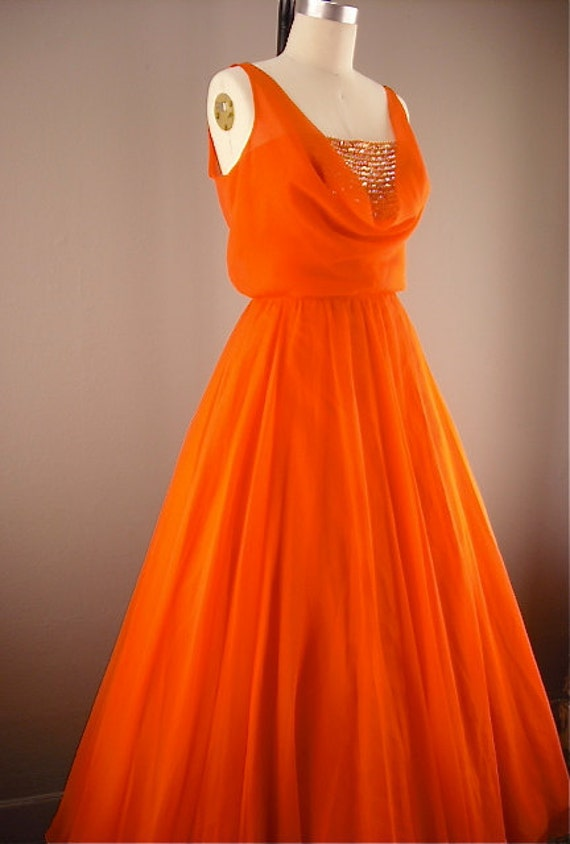 Glorious bright orange ball gown size medium Miss Elliette sheer chiffon sequins full length