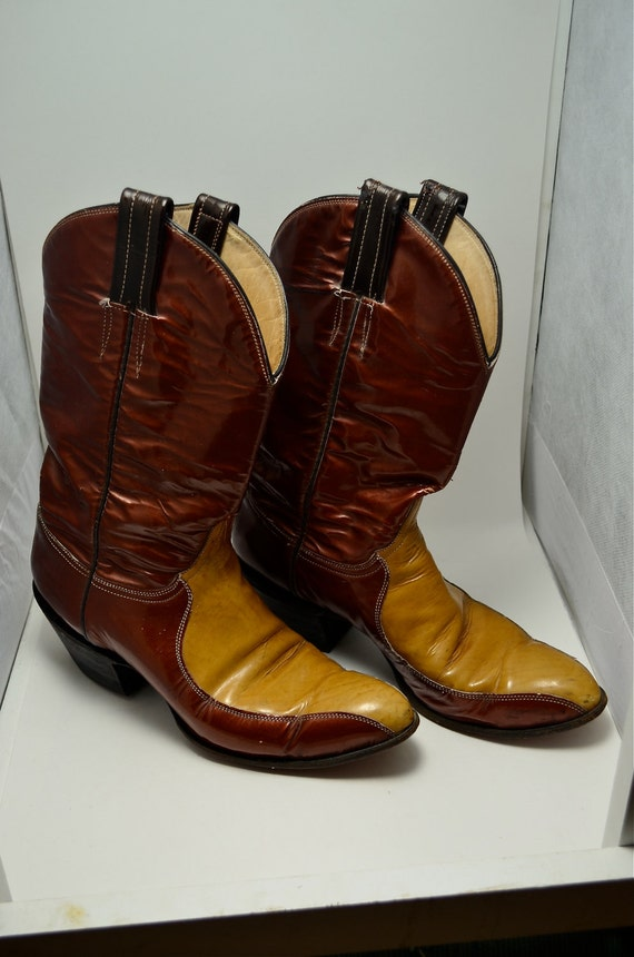 RESERVED Awesome 1960s patent leather boots size 9 handmade LARAMIE copper and gold Unique cowboy distressed
