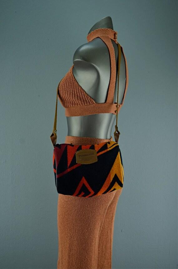 Adorable Pendleton wool purse wool Azteca shoulder bag leather indian tribal Southwestern black and red