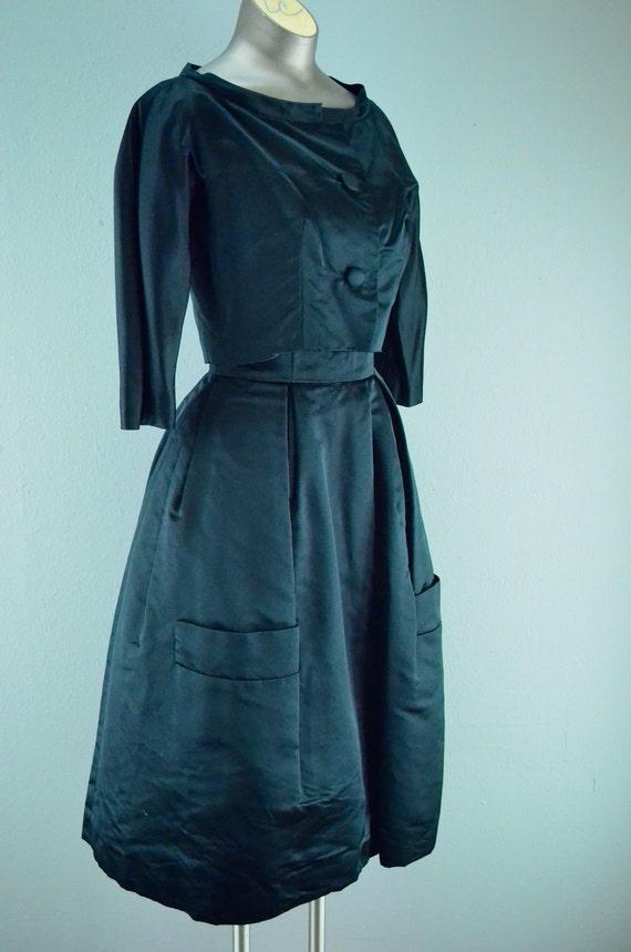 1950s black satin dress Vintage party dress Size small Strapless 50s dress strapless 2 piece