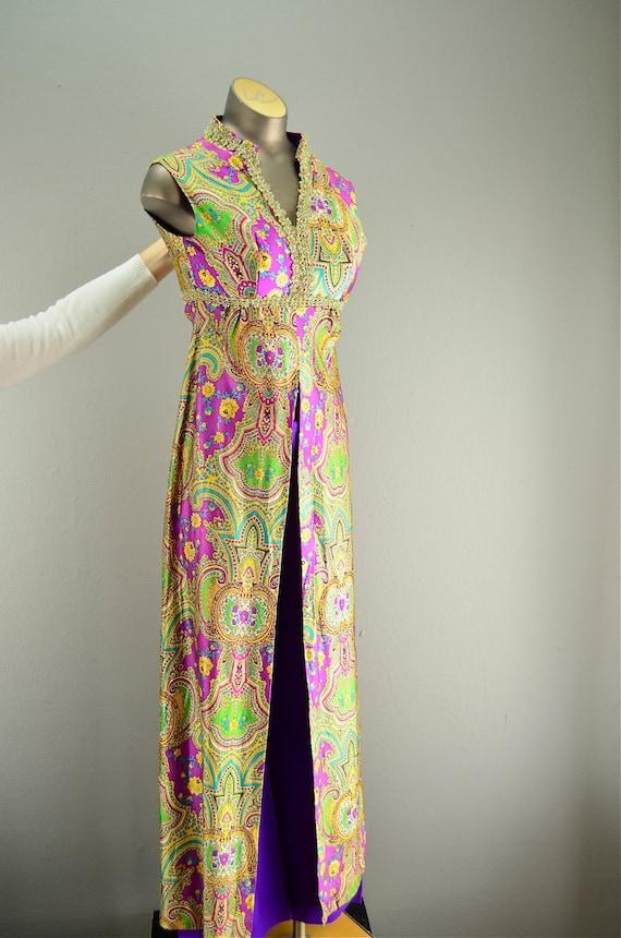 1960s pant suit / 60s maxi dress / Psychedelic 60s set