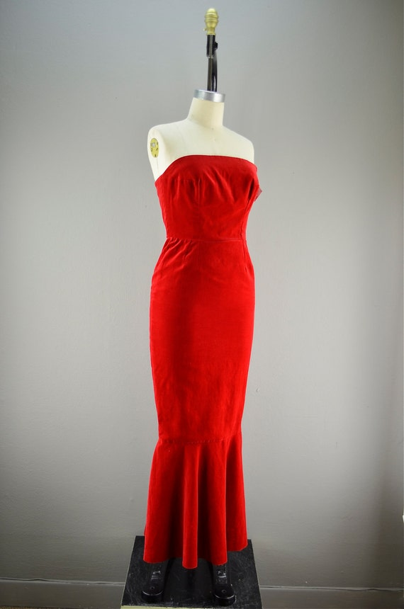 1960s bright red velveteen wiggle dress size small medium 60s BOMBSHELL fishtail mermaid Evening gown