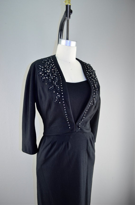 1950s black wiggle dress and jacket size small medium 50s beaded cocktail jeweled applique Mad Men