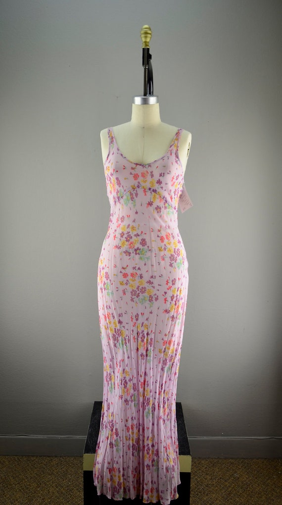 Pale lilac Betsey Johnson dress size medium sheer 1930s style floral maxi Bias cut Hollywood glamour