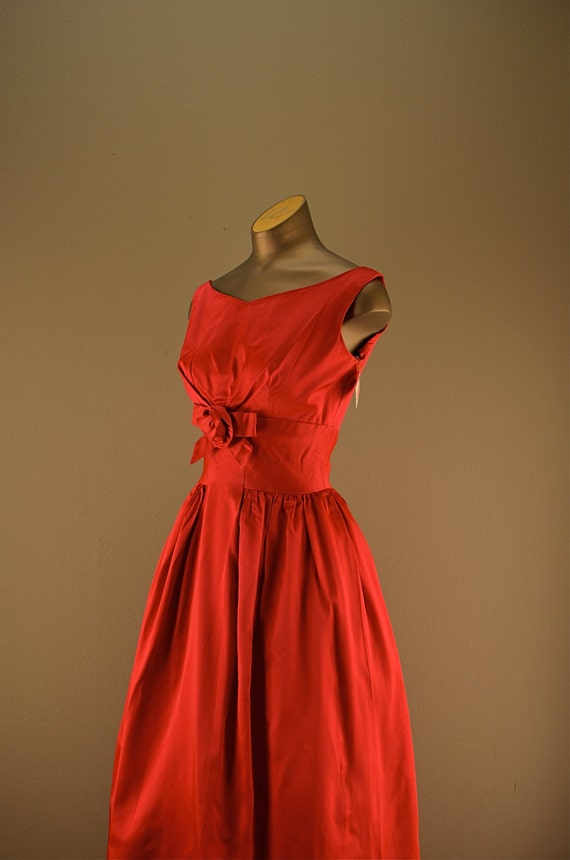 Late 1950s Lorrie Deb Party dress Raspberry 50s vintage bridesmaid full length formal Mad Men