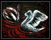 Duality - Original Acrylic Painting - 16 by 20 inches Swan, Sea, Red, Black, White, Impressionist