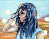 Lights - Original Acrylic Painting - 16 by 20 inches (sides are about 1/2 an inch thick) Beach, Street, Sea, Summer
