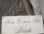 Rustic Wedding Here Comes the Bride Thank You Sign Double sided Ring Bearer Flowergirl Photo Prop