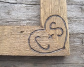 Rustic Wedding Barnwood Picture Frame 4x6 Woodburned Personalized Initials Custom