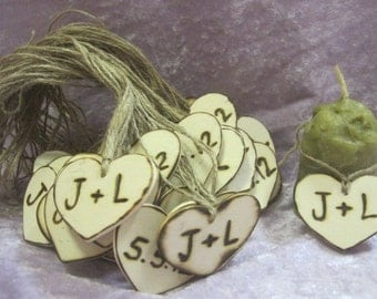 "50 2"" Rustic Wedding wooden Woodburned Heart Favor Tags Charms Personalized Initials Bride Groom"