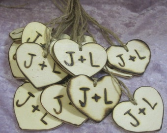 "2"" Rustic Wooden Wedding wood Heart Favor Tag Charms Personalized Initials Bride Groom woodburned Country woodland weddings"