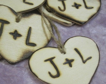 "Rustic Wedding Woodland Heart Favor Tags, 100 2"" Woodburned Custom country Personalized Initials Bride & Groom wooden wood hearts favors"