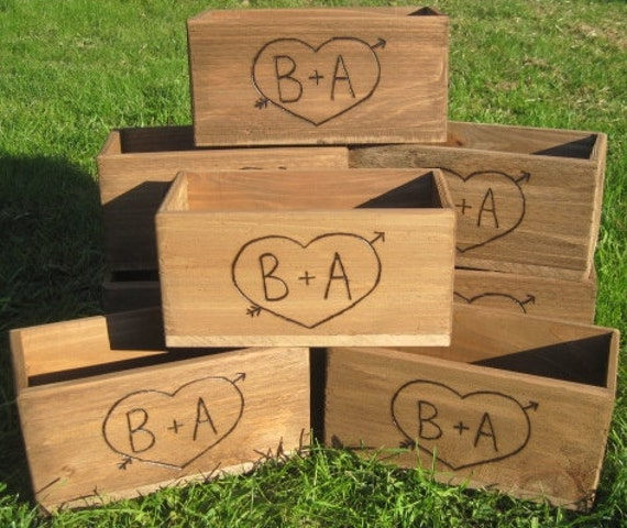 8 Large Rustic Wedding Wooden Barnwood Box wood Centerpiece Flowers Personalized Woodburned Bride & Groom engraved Initials Country style