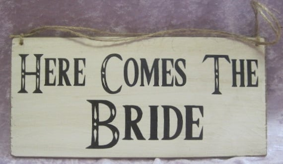 Rustic Wedding Here Comes the Bride Just Married Sign Double Sided Ring Bearer Flowergirl Photo Prop