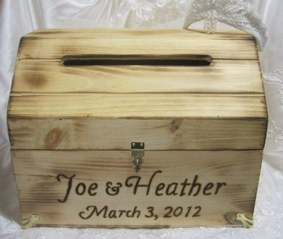 Large Rustic Wedding Card Box Keepsake Chest Woodburned