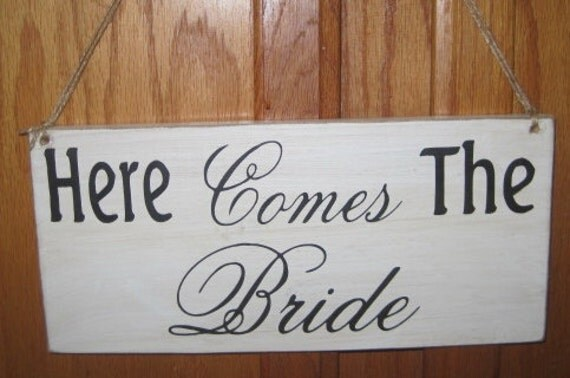 Rustic Wedding Here Comes the Bride and They Lived Happily Ever After Sign Double sided Ring Bearer Flowergirl Photo Prop