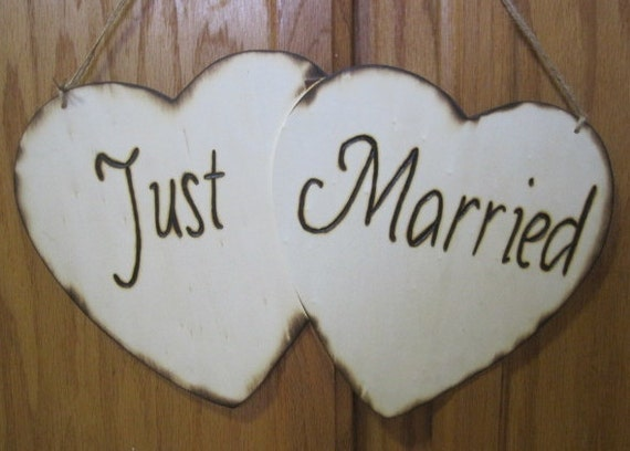 Rustic Wedding Here Comes the Bride Just Married Heart Sign Ring Bearer Flowergirl Photo Prop Woodburned