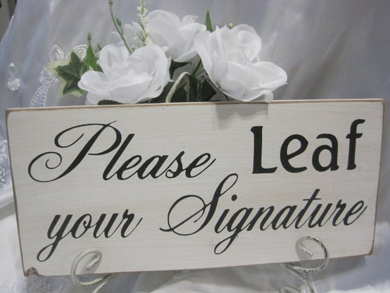 Rustic Wedding Please Sign Guestbook Sign Leaf Thumbprint Tree Reception Gift Table Guest
