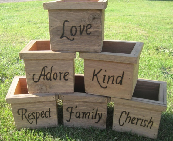 6 Rustic Wedding Wooden Cedar Barnwood Box Centerpiece Flowers Personalized Woodburned Vase