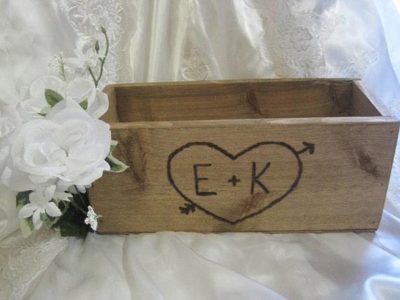 Large Rustic Wedding Wooden Cedar Barnwood Box Centerpiece Flowers Personalized Woodburned Initials