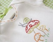 Little Mushrooms - Onesie, Bodysuit, or Tee Shirt - Hand Embroidered (made to order any size)