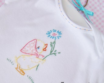 Little Quack - Hand Embroidered Gerber Onesie (Made To Order - Any Size)