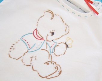 Barney Bear - Hand Embroidered Vintage Style Boy - Romper