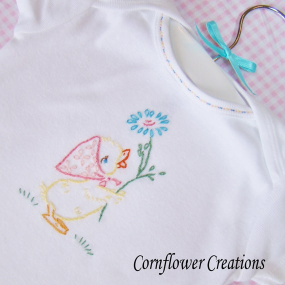 Little Quack - Hand Embroidered Baby Shirt / Onesie (Made To Order - Any Size)
