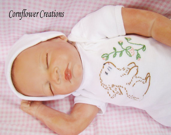 Bunny Love - Hand Embroidered Onesie (made to order any size)
