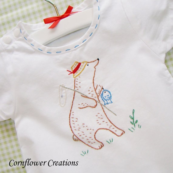 Fishing Bear - Hand Embroidered Vintage Style Romper (Made to Order Any Size)
