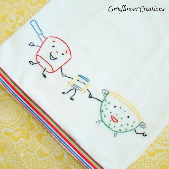 Happy Kitchen Trio - Hand Embroidered Flour Sack Tea Towel