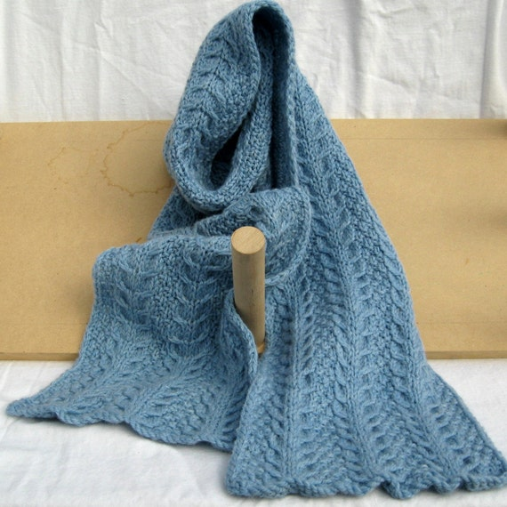 Soft Blue Horseshoe cabled scarf