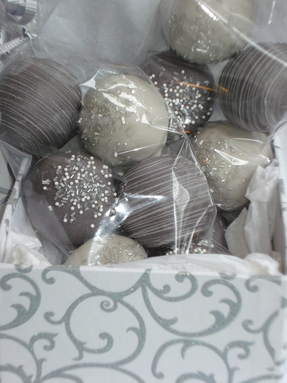 Cake Balls: Gift Box of Wedding Anniversary Cake Bitty Bites. Perfect for Silver 25th Anniversary!