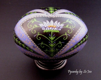 Made To Order: Blackberry Dream Pysanka Pysanky Duck Egg Batik Art by So Jeo