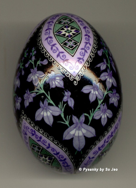 Made To Order: Pale Spiked Lobelia Pysanka Batik Blue Duck Easter Egg Art EBSQ Plus