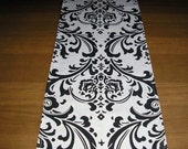 FREE Domestic Shipping -Table Runner -Wedding Accessories/Formal Dining - Traditions Black on White Damask