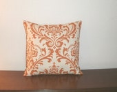 SALE..Free Domestic Shipping. Decorative Pillow Cover - 16 inch Traditions Sweet Potato on Natural Damask