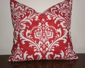 SALE...Free Domestic Shipping.. Decorative Pillow Cover - 18 inch Traditions White on Red Damask