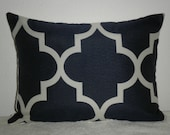 FREE DOMESTIC SHIPPING Decorative Pillow Cover- 12 X 16 inch Geometric Fret Work Cream on Navy