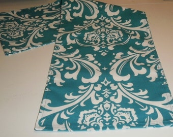 FREE DOMESTIC SHIPPING Table Runner -Traditions White on Turquoise  Damask-Wedding Accessories/Formal Events/Formal Dining/Table Linens