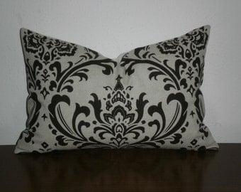 FREE DOMESTIC SHIPPING Decorative Pillow Cover - 12 X 18 inch Traditions Chocolate Brown on Linen Like  Damask