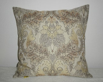 FREE DOMESTIC SHIPPING Decorative Pillow Cover- 18 inch Taupe and Gold on Cream Damask