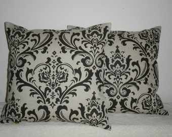 Free Domestic Shipping. Set of Two Decorative Pillow Covers - 18 inch Traditions Chocolate Brown on Linen Like  Damask
