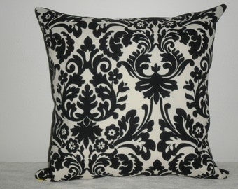 FREE DOMESTIC SHIPPING Decorative Pillow Cover - 20 inch Waverly Essence Onyx (black and off white)Indoor Outdoor/Invisible Zipper