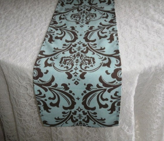 FREE DOMESTIC SHIPPING Table Runner -Traditions Brown on Blue Damask Wedding Accessories Formal
