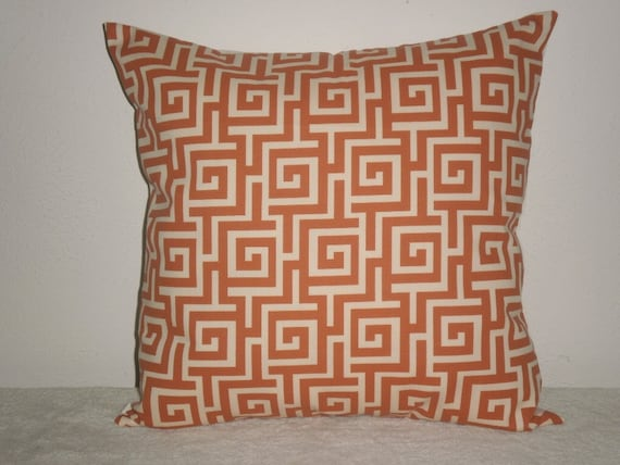 SALE..Free Domestic Shipping Decorative Pillow Cover - 20 inch Geometric Greek Key Persimmon and cream Indoor Outdoor