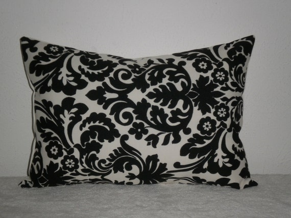 FREE DOMESTIC SHIPPING Decorative Pillow Cover - 14 x 20 inch Waverly Essence Onyx (black and off white)Indoor Outdoor